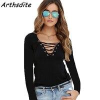 Plus Size S 5XL Long Sleeve T Shirts V Neck Rivet Tshirts Solid Color Cotton T