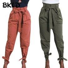 BKLD Harajuku Streetwear Vrouwen Casual Harembroek Met Sjerpen Solid Hoge Taille Broek Mode Vrouwen Lange Broek Broek 2019 Nieuwe
