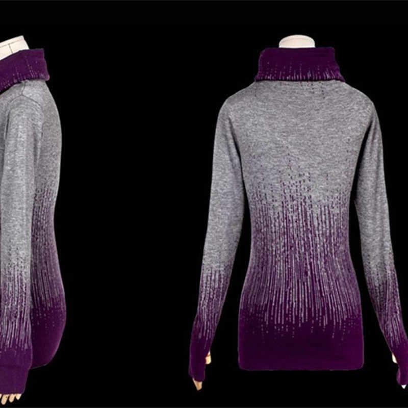 Phụ nữ của Gradient Màu Xanh Đen Cổ Điển Dệt Kim Áo Len Cashmere Phụ Nữ Mùa Đông Cao Cổ Dày Áo Len Chui Đầu Và Nữ Tops