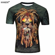 ФОТО one a cake 2017 men's fashion brand creative t-shirt smoke 3 d animal lion/lizard/water droplets 3 d printing t-shirt m - 4xl