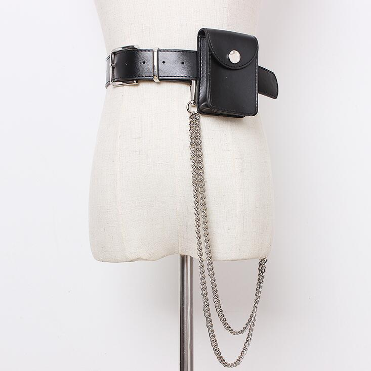 Women's Runway Fashion Metal Chain Pu Leather Cummerbunds Female Dress Corsets Waistband Belts Decoration Wide Belt R1656