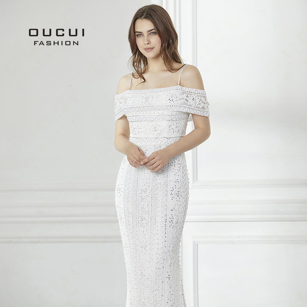 2019 Long Evening Dress handmade beaded Full Pearls Mermaid Gown Lace Off Shoulder elegant New Formal occasion OL103008(China)