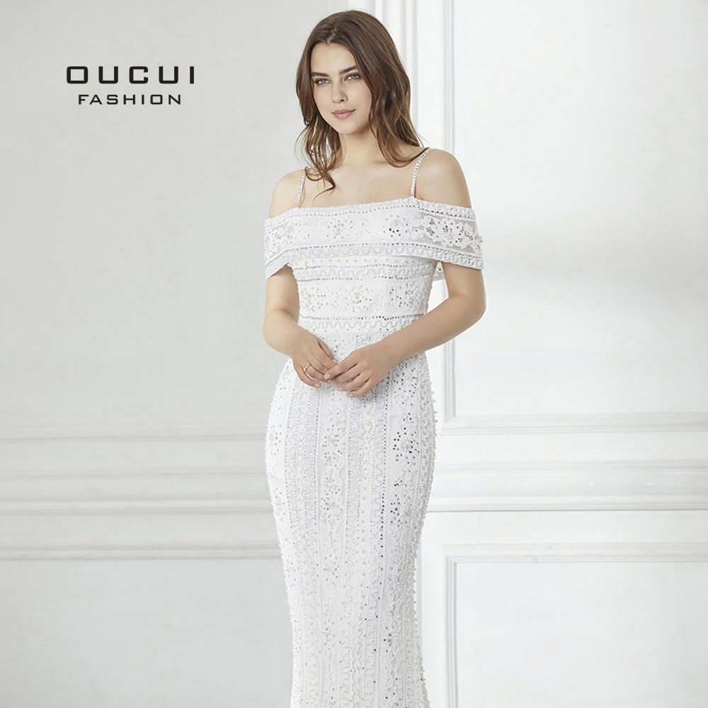 2019 Long Evening Dress handmade beaded Full Pearls Mermaid Gown Lace Off Shoulder elegant New Formal