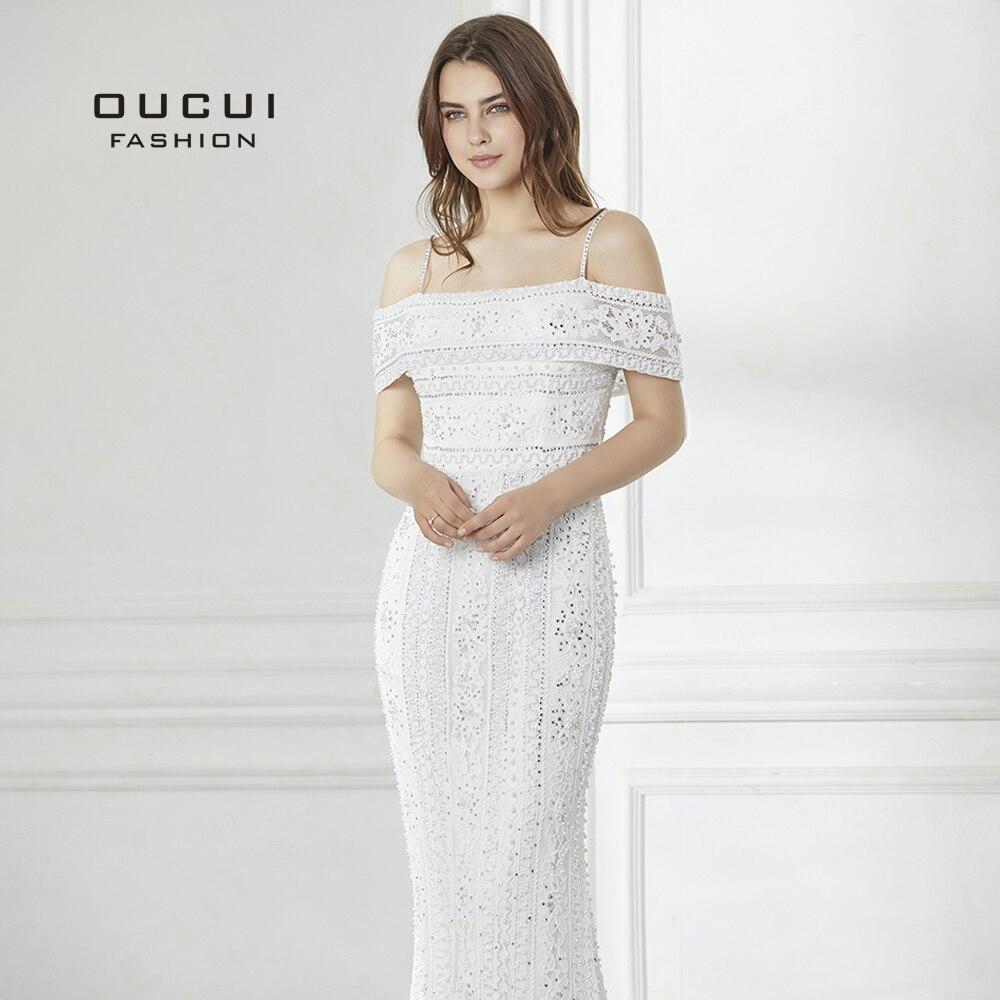 2019 longue robe de soirée à la main perlée pleine perles robe de sirène dentelle épaule dénudée élégante nouvelle occasion formelle OL103008