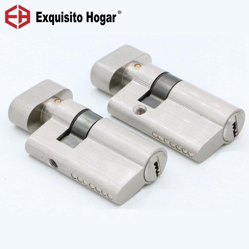 Door Hardware Security 52mm Cylinder  Interior Room Door Glass Clamp Lock Handle Customized Partial Key Brass Copper Lock
