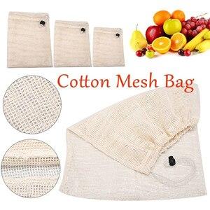 Image 1 - 再利用可能なオーガニックコットン野菜メッシュ男性の女性ホームキッチン洗えるフルーツ食料品巾着ショッピング保存袋