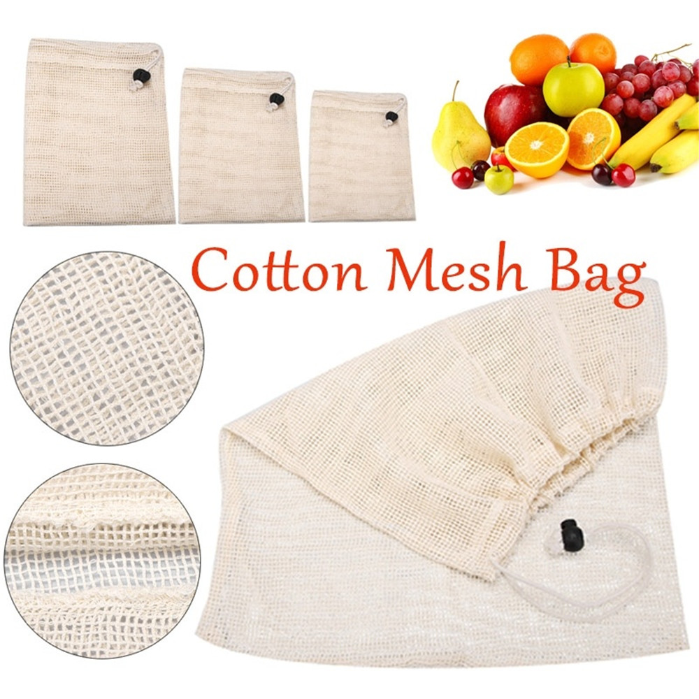 Reusable Organic Cotton Vegetable Mesh Bag for Men Women Home Kitchen Washable Fruit Grocery Drawstring Shopping Storage Bags-in Bags & Baskets from Home & Garden