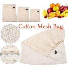 Reutilizáveis de Algodão Orgânico Vegetal Saco de Malha para Mulheres Dos Homens Lavável Sacos de Armazenamento de Cordão Sacolas de Supermercado de Frutas Cozinha de Casa