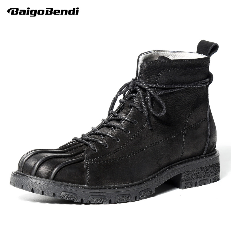 Retro Genuine Leather Mens Super Warm Snow Boots Round Toe Lace Up Trendy Soliders Riddi ...