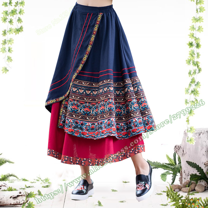 2019 Spring and Summer New Novel National Style Cotton and Linen Floral Irregular Stitching Midi Skirt Long Print Skirts Womens-in Skirts from Women's Clothing    2
