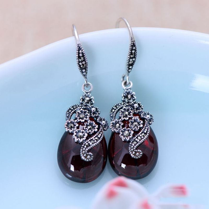 Vintage Dangling Earrings Real 925 Sterling Silver Jewelry Natural Garnet Red Stone Carved Flower Drop Shaped