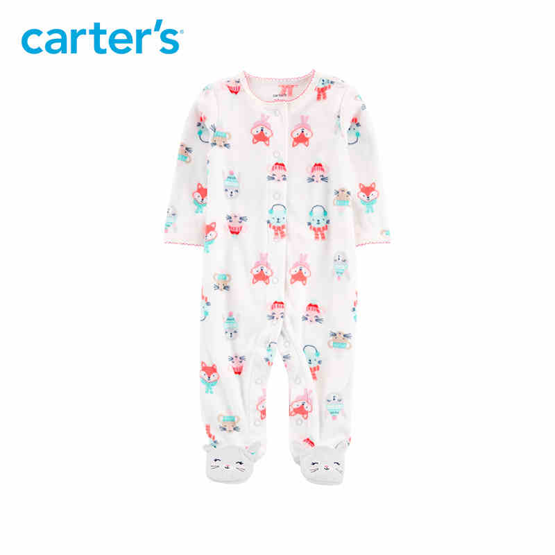 Carter's Christmas Snap-Up Fleece Sleep & Play Cute cat print long sleeve baby girls footies 115G637 christmas snowflake cat print mesh panel dress