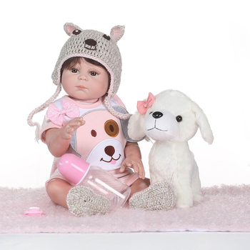 NPK bebe reborn 50cm full silicone reborn baby dolls for children gift with white puppy plush  can bathe toddler doll toys