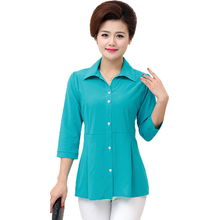 купить Woman Casual Shirt Half Sleeve Top Red Green Blue Plain Blouses Women Turn Down Collar Tops Peplum Blouses Bottom Front Top 2019 в интернет-магазине