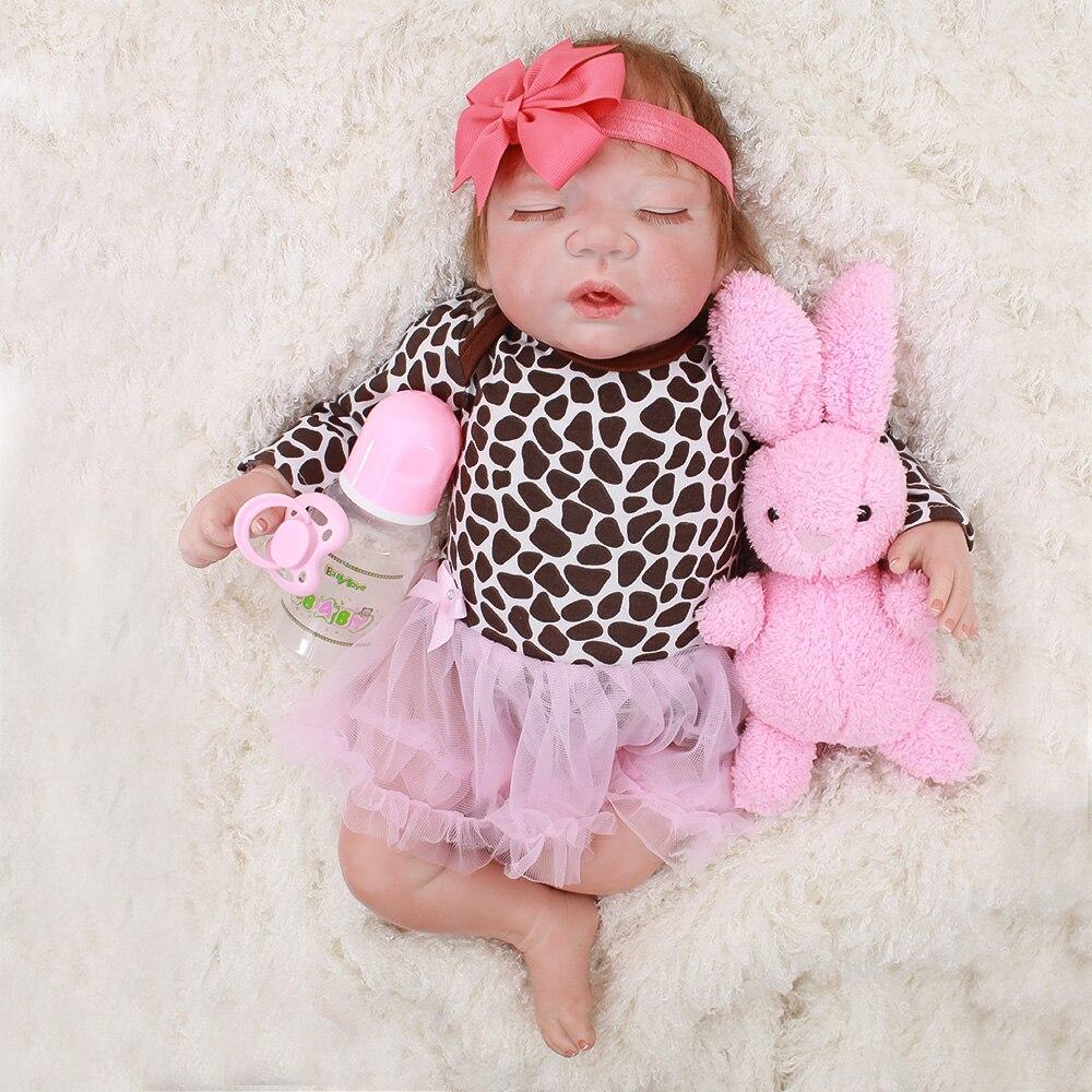 Baby reborn Silikon puppen spielzeug lebensechte sleeping newborn babys mode rebron puppe geschenk für kind 46 cm Bebes reborn bonecas