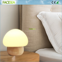 New 3W RGB LED Night Light Mushroom Wooden Table Lamp Bedroom Desk 16 Colour Dimmable Light