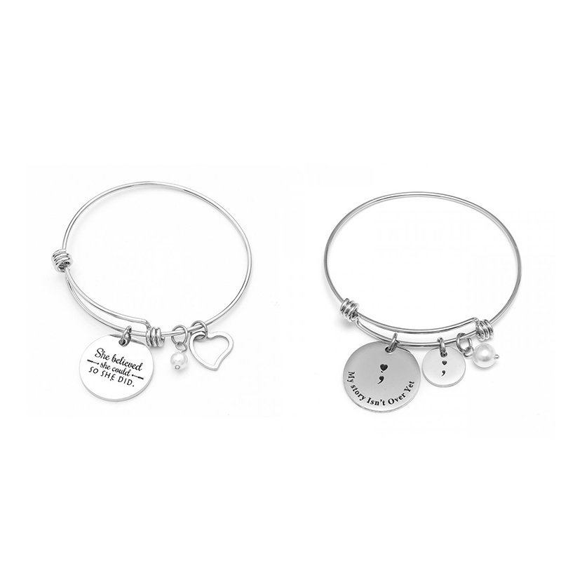 Fashion Letter Engraved Bangle she believe she could ,so she did Positive Inspirational Hand adjustable Bracelet new year gifts