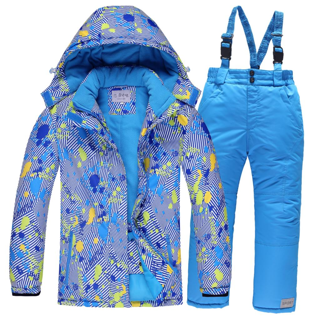 Camping & Hiking Outdoor Sport Children Ski Wear Warm Windproof Wear Resistant Boys And Girls Single Snowboard Ski Jacket And Pant Climbing Suit