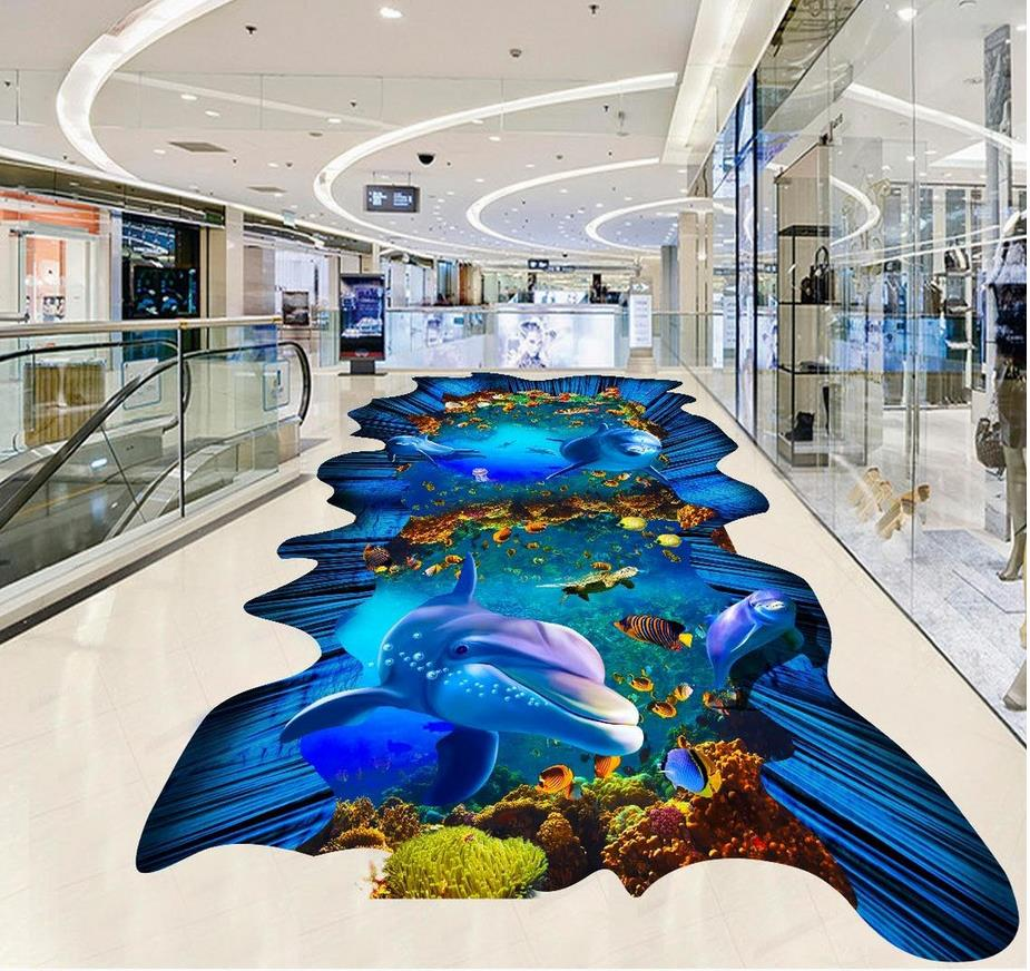 Ocean World 3D stereoscopic painting the floor pvc self-adhesive wallpaper 3d floor painting wallpaper avengers world volume 3 next world