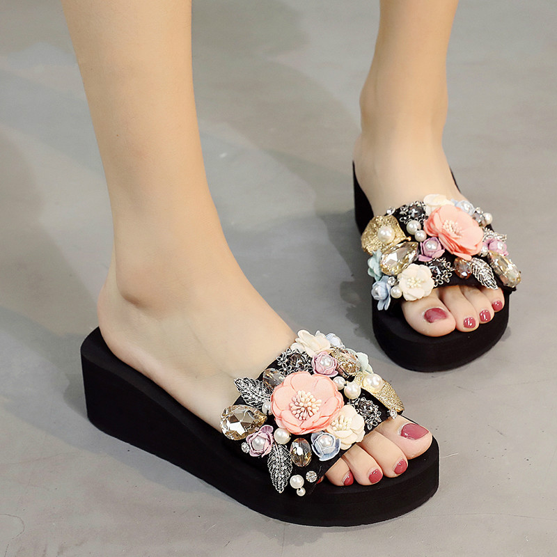 Big Girls Slippers Pearls Flower Childrens Slippers Sweet Parents Child Shoes Open Toe Slope Summer Shoes