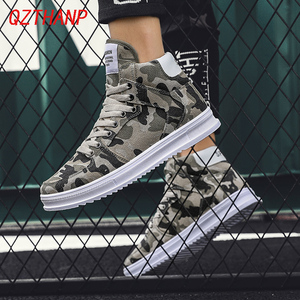 Image 1 - Fashion High Top Camo Casual Shoes Men Respirant Denim Sneakers Krasovki Chaussure Homme Tenis Masculino Adulto Male Footwear
