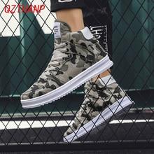 Moda Yüksek Top Camo rahat ayakkabılar Erkekler Respirant Denim Sneakers Krasovki Chaussure Homme Tenis Masculino Adulto Erkek Ayakkabı
