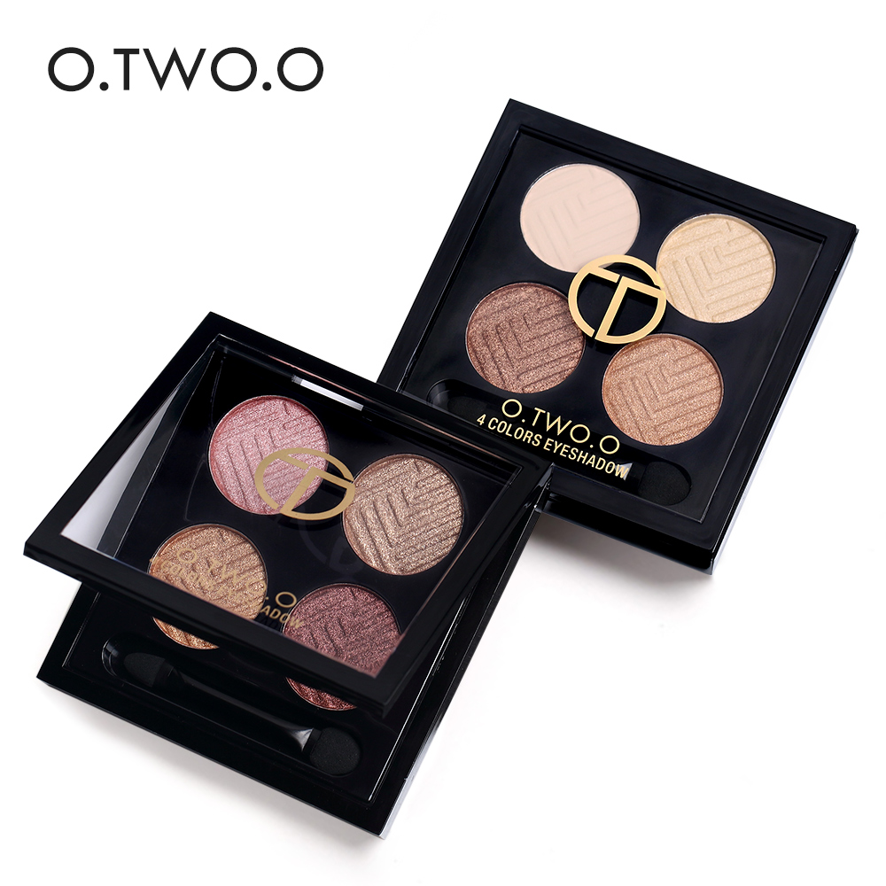 o.two.o Brand Warm Brown Red Eye Shadows Cosmetics for Women Waterproof Pigments 4 Color Shimmer Nude Eyeshadow Makeup Palette