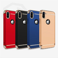 Joyroom Original Brand Phone Case for iPhone X 3 In 1 10 Electroplating edge Plating Matte Hard Full PC Case Cover
