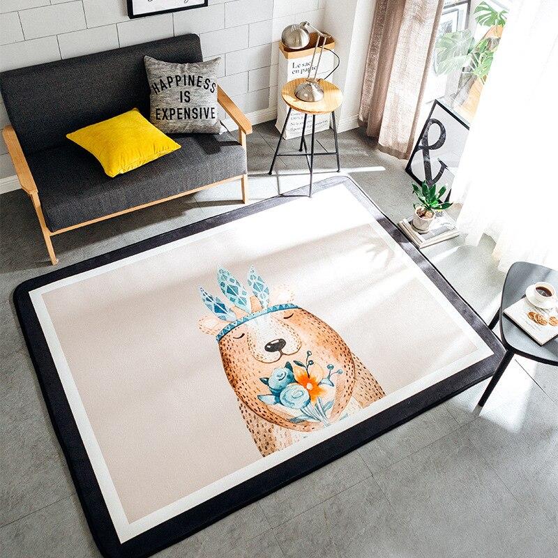 145X195CM Nordic Animal Series Carpet Kids Room Home Decor Carpets For Living Room Children Play Tatami Floor Mat Room Rug