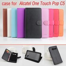 Alcatel One Touch Pop C5 5036 OT5036 5036D 4.5 дюймов case флип защитный Кожаный бумажник крышка case Alcatel One Touch Pop C5 case