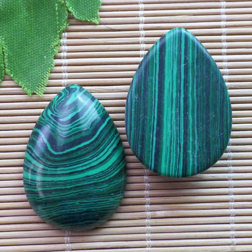 (2 pieces/lot) Wholesale Man-made Malachite Teardrop CAB CABOCHON 31x23x6mm Free Shipping Fashion Jewelry ZY3422