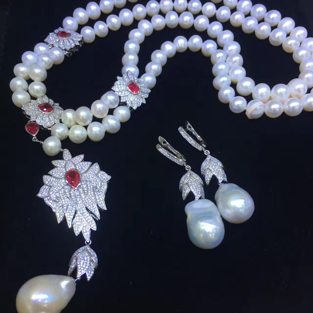 jewelry set natural pearl necklace and drop earring gemstone jewelry 925 sterling silver party necklace double layers fine jewel jewelry set natural pearl necklace and drop earring gemstone jewelry 925 sterling silver party necklace double layers fine jewel