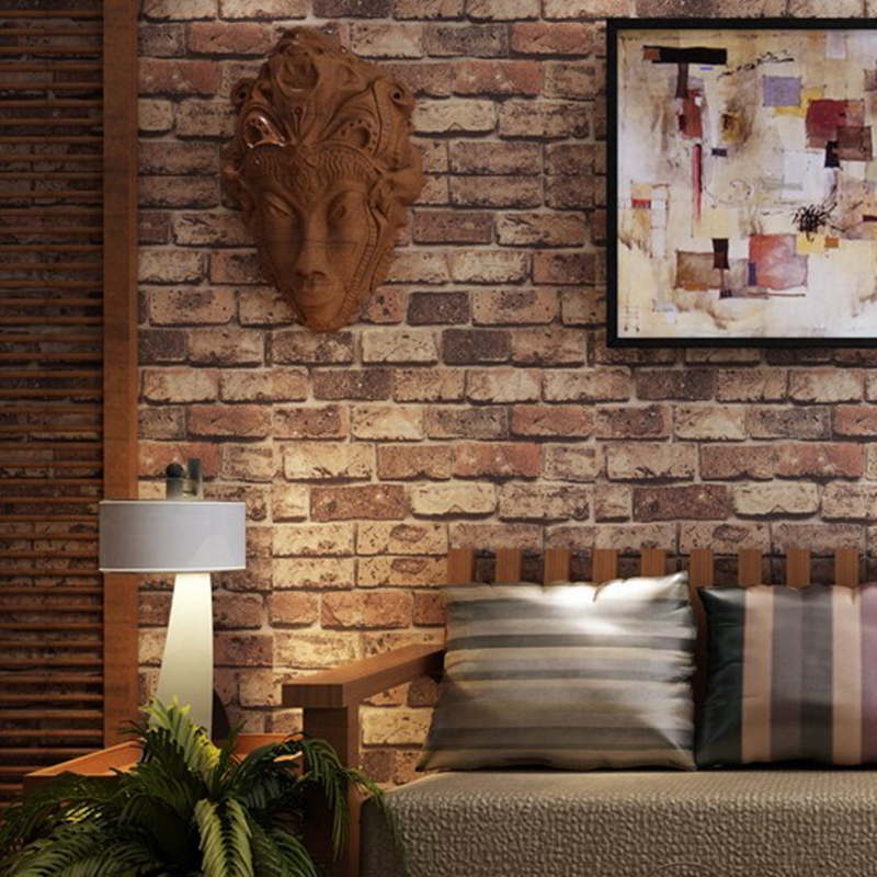 White Brick Wallpaper Kitchen: PVC Chinoiserie Retro Sandstone Wall Brick Kitchen