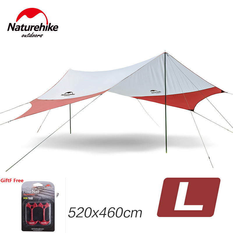Naturehike Large Camping Tent Awning Sun Shelter with pole Beach Playing Games Fishing Hiking Outdoor 5 Person Tent Sun Shelter octagonal outdoor camping tent large space family tent 5 8 persons waterproof awning shelter beach party tent double door tents