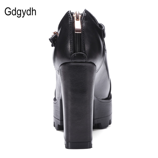 Gdgydh Spring Office Shoes Women High Heels 2017 New Ankle Strap Platform Women Pumps Zipper Russian Ladies Shoes Big Size 42