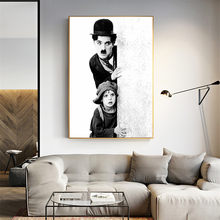 Wall Art Retro Style Movie Posters and Prints Black and White Charlie Chaplin Art Canvas Painting for Living Room Home Decor(China)