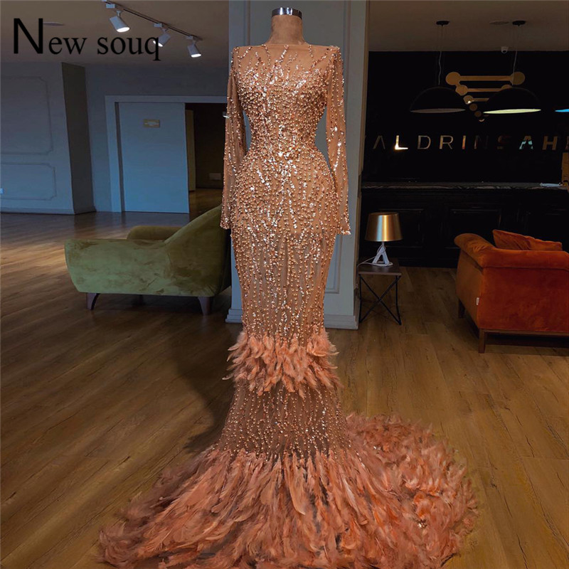 Luxury Feather   Evening     Dresses   Mermaid Beaded Dubai Islamic Party Gowns Abendkleider Kaftan 2019 African Prom   Dress   Vestidos New