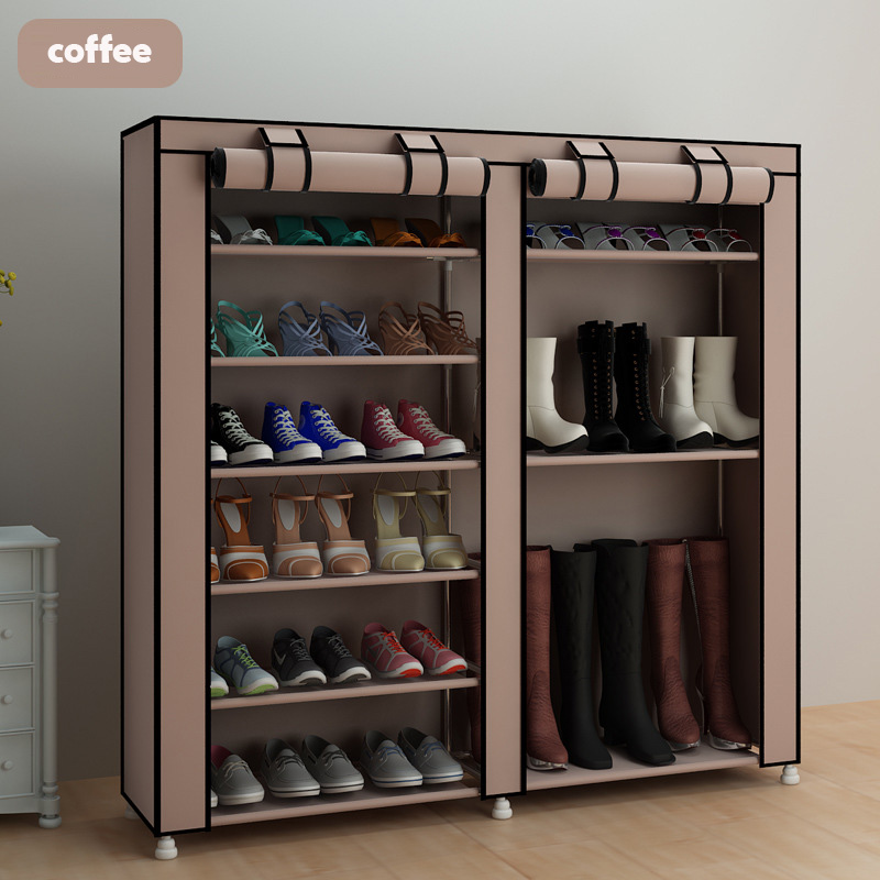 Coffee Large Shoe Cabinet Organizer 7-layer 9-grid Non-woven Fabrics Removable Shoe Storage For Home Furniture Shoe Rack