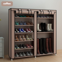 Coffee Large shoe cabinet organizer 7 layer 9 grid Non woven fabrics removable shoe storage for home furniture shoe rack