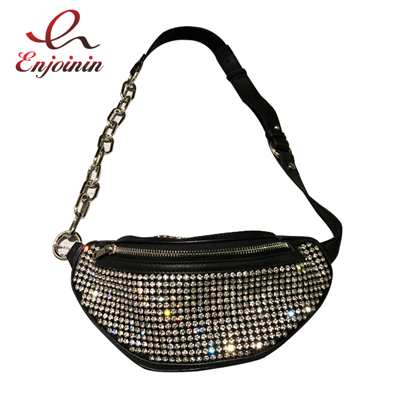 Good Quality Fashion Design Pu Diamond Women Casual Pockets Shoulder Bag Chain Bag Pack Belt Bag Female Waist Bag Bolsa Flap