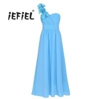 Hot Kids Chiffon One Shoulder Flower Girl Dress Princess Wedding Bridesmaid Costumes Birthday Party Dress For