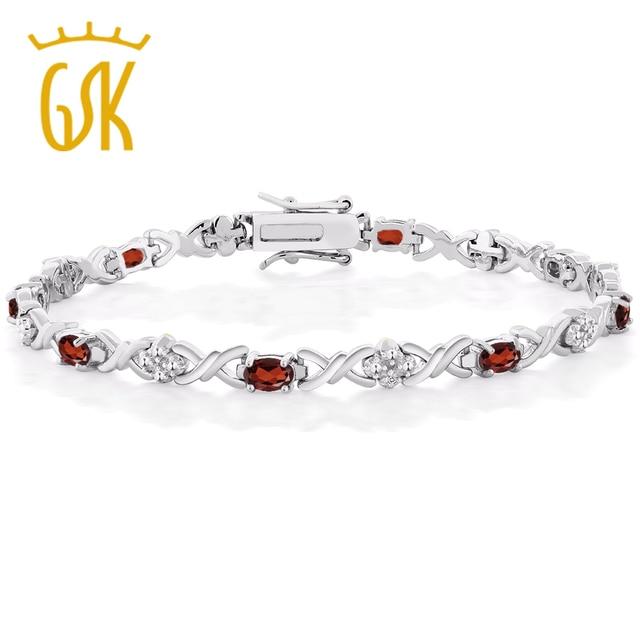 Gemstoneking 5 00 Ct Natural Garnet Tennis Bracelets For Woman 925 Sterling Silver Bracelet With Diamond Accent