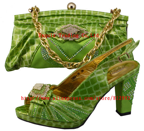 ФОТО FREE SHIPPING!!! 2014 New arrival italian shoes with matching bags JB05 GREEN 38-43