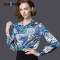 Wome Silk Blouse long sleeve Print Satin Blusas Office lady Button Plus size Fashion blouse shirt 2016 NEW Blue