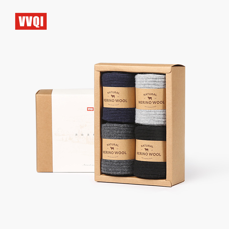 VVQI Winter Men's Wool Socks Warm Floor Socks Export Quality Brand Socks Business 4packslot Black No Box