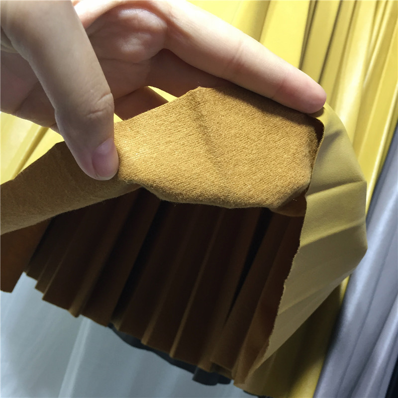 2018 11 11 PU Accordion Pleated Skirt Autumn & Winter New Style Leather Skirt High Waist Faldas Largas Elegantes Free Shipping 5