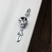 K9 Crystal Kitchen Cabinet Drawer Knob Pull Glass Diamond Dresser Cupboard Door Handle Silver Back Plate