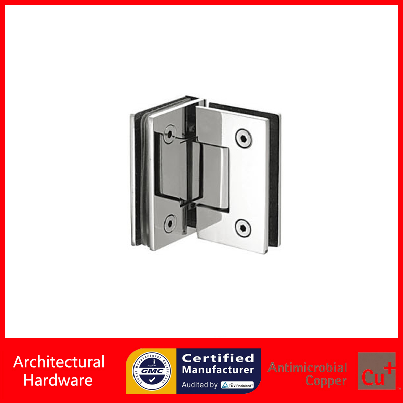 Фото Shower Door Hinge Glass to Glass Corner Hinge 304 Stainless Steel Spring Hinges DC-1033 For 8mm~10mm Thick Glass