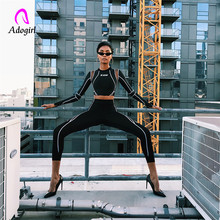 Adogirl Fitness Women Sporting Two Pieces Set Letter Print Turtleneck Top Leggings Striped Patchwork 2019 Slim 2 Pcs Tracksuits