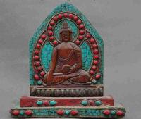 Декоративные Ручной Работы Непал Тибетский Старый серебряный Непал тибет бронзовый Декор Бирюзовый коралловые Медицины Святыни Будды шак